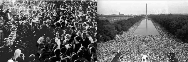 The 1967 March on the Pentagon and the 1963 Civil Rights March in Washington both were movements that forced the Democratic Party to change