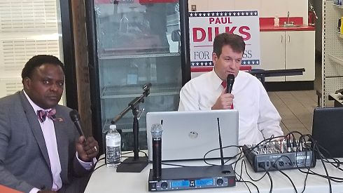 GOP candidates Paul Dilks (right) and Vincent Squires (left) blast Dr. King during recent broadcasts