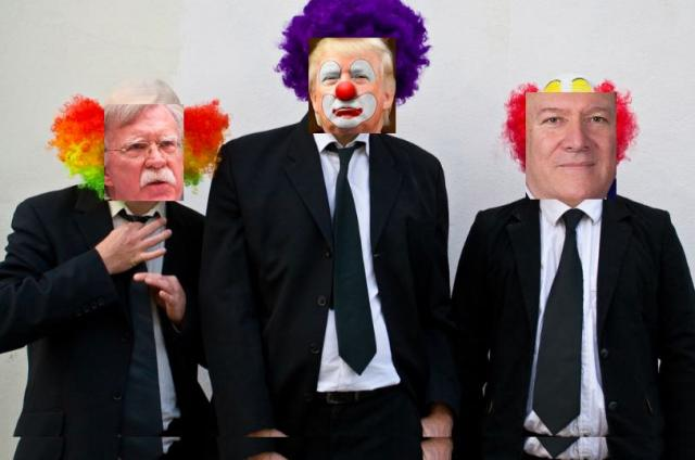 Trump (center), Bolton (left) and Pompeo (right)