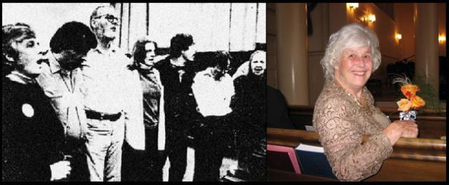 The Plowshares group with Agnes Bauerlein at the far left; and Agnes in more recent times