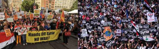 Impromptu anti-war demonstrations in New York (left) and London, and an outpouring of negative calls and mails to elected offici