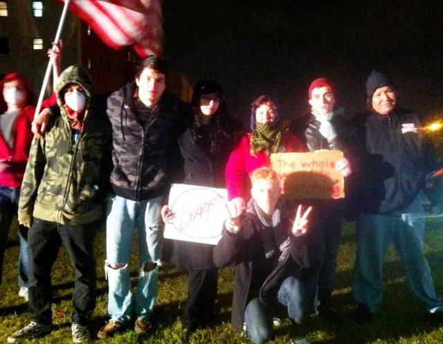 Everyone in this photo was arrested at Occupy Tulsa on Nov. 3. Five Occupy OKC went to the pokey that night, including Ventura