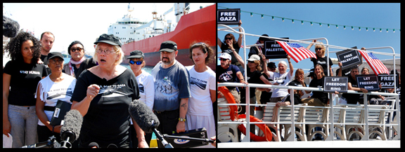 Retired Colonel Ann Wright, left, speaks to the press and while her fellow CD activists make their case on the boat's deck.
