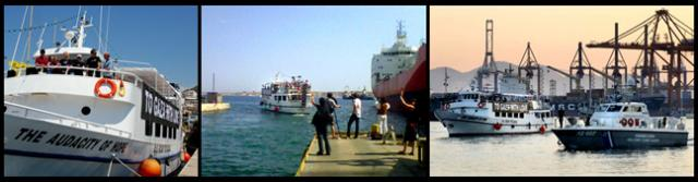 The Audacity Of Hope leaves Athens harbor and, then, at right, is escorted back to the dock by a Greek Coast Guard boat.