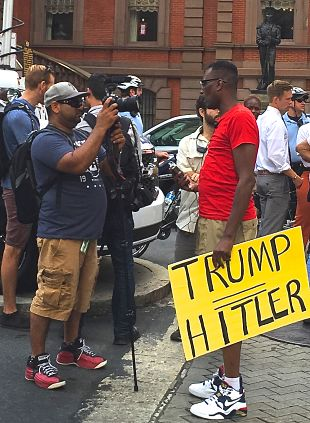 Black Lives Matter member outside a Trump campaign appearance in Philadelphia. LBW Photo