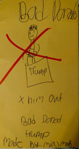 Bad Trump (this incisive drawing was contributed to ThisCantBeHappening by two young artists, Amelia, 5, and Makayla, 8)