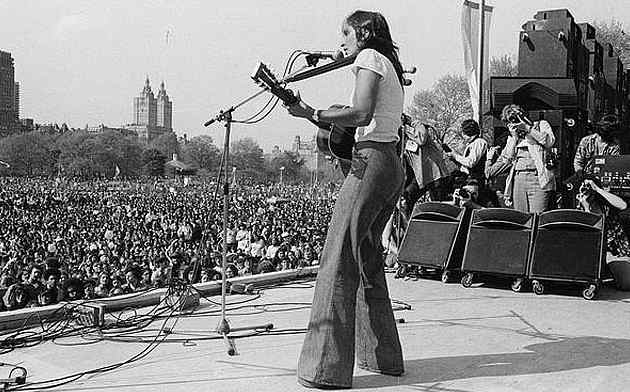 Peace activist folksinger Joan Baez at the April 30, 1975 War is Over rally in New York City's Central Park