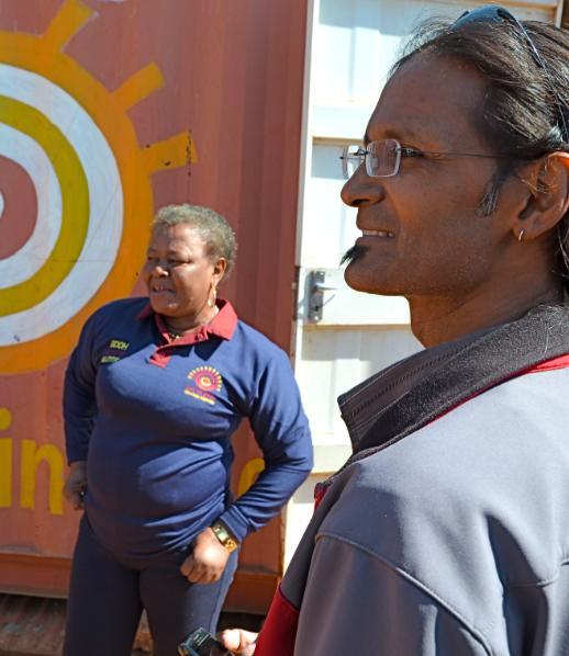 Shenid Bhayroo (r) and Rose Thamae at Thamae's anti-AIDS/anti-poverty organization in the impoverished township of Orange Farm