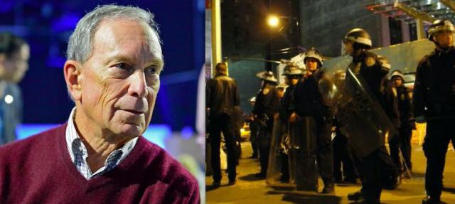 Michael Bloomberg and the NYPD cops he ordered as mayor to attack the Wall Street Occupy movement in November 2011