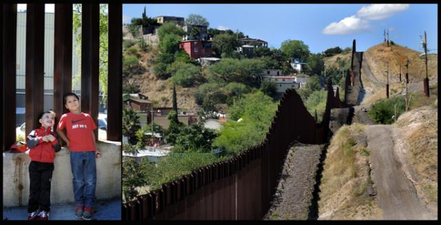 The wall separating the two Nogaleses seen from the US; two boys on the Mexican side.