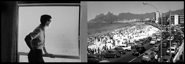 Michael Uhl in March 1964 looking out a window onto the Copacabana, pictured at right circa 1960s.