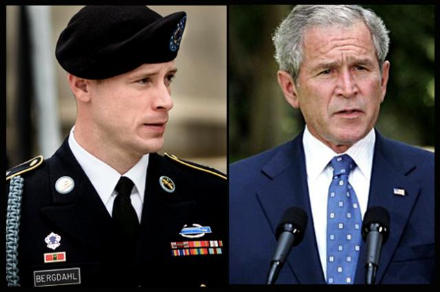 Sergeant, now Private, Bo Bergdahl and President George W. Bush