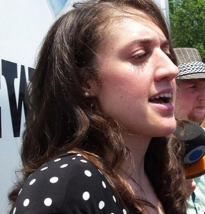 Occupy Wall Street activist Cecily McMillan after being released from Rikers' Island jail. Her puny three-month sentence and her early release after 2 months are proof that the charge of felony assault of a NYPD cop was trumped up DA Cyrus Vance Jr.
