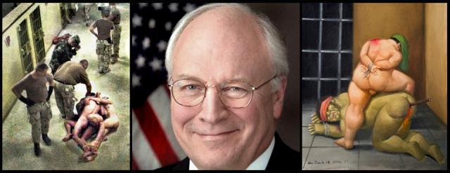Torturers at work, Dick Cheney and one of Colombian Fernando Botero's 85 paintings of torture at Abu Ghraib