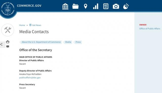 Image of the 'Media Contacts' page of the Trump Administration Commerce Department on March 22 over two months into Trump's presidency