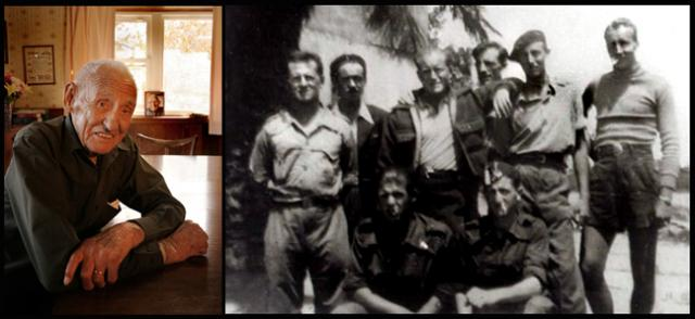 Proud American communist Delmer Berg in 2014 and in 1938 in Spain, second from right in beret