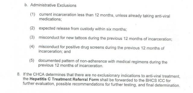 Section of the Pennsylvania DOC's treatment protocol detailing administrative reasons for denying Hep-C medical treatment to prisoners