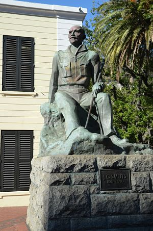 Statue of Jan Smuts in downtown Cape Town, SA stained by vandal's red paint. LBWPhoto