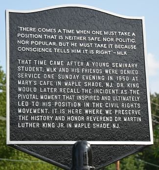 Plaque installed recently in Maple Shade, NJ recognizing Dr. King's first protest against racism.