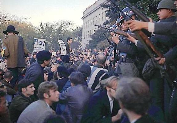 The author (lower right foreground of photo) early during the sit-down confrontation on the Mall of the Pentagon on Oct. 21, 1967