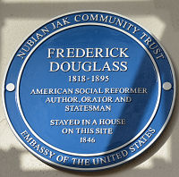 Nubian Jak plaque for Frederick Douglass in London's exclusive Chelsea section. LBWPhoto