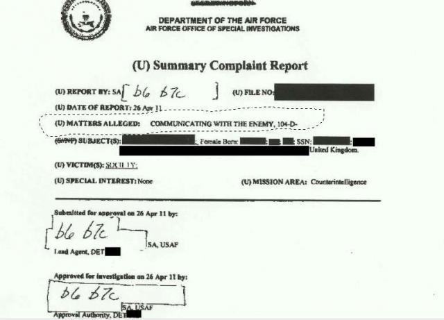 """Here's the page from the Pentagon file that labels Assange and Wikileaks as """"enemies"""" of the US"""