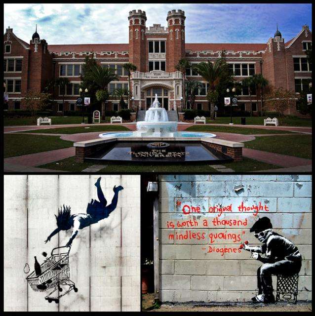 My alma mater, Florida State University, and two hit-n-run works by the anti-neo-liberal artist Banksy