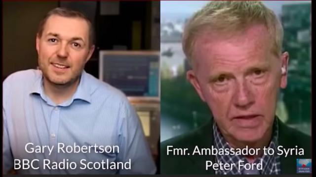 Former UK Syrian Ambassador Peter Ford (click on image to play the interview)