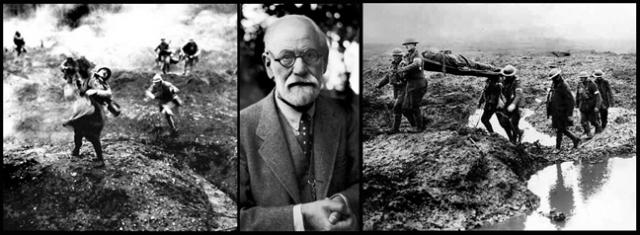 Sigmund Freud in the early 1930s and images from World War One