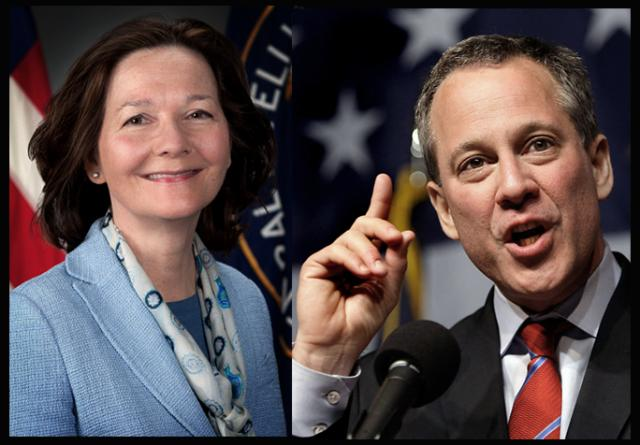 Gina Haspel and Eric Schneiderman in public happy-face mode
