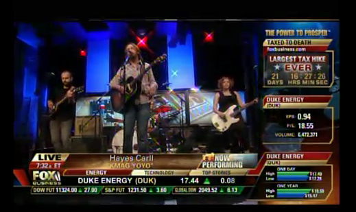 "Hayes Carll and band on Fox-TV's ""Imus in the Morning"""