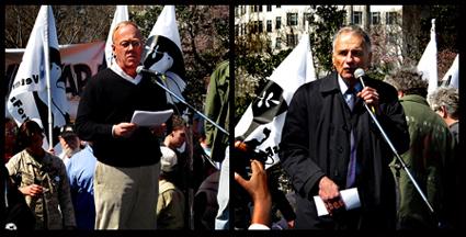 Chris Hedges, left, and Ralph Nader