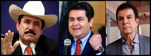 Removed President Manuel Zelaya, the incumbent Juan Orlando Hernandez and Salvador Nasralla