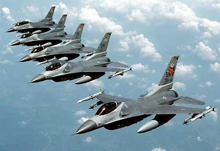 Israel's Air Force is almost entirely composed of planes like these F-16s built and paid for by the US