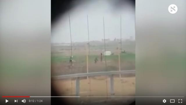 Video taken by an IDF soldier of a sniper shooting a Palestinian boy to death and then being cheered by his comrades.