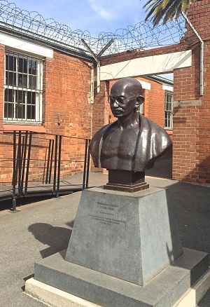 Bust of Gandhi inside Old Fort prison museum in Johannesburg, SA. LBWPhoto