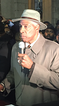 "Basketball legend Julius ""Dr. J"" Erving at Meek Mill rally. LBWPhoto"