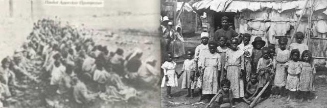 Seeking reparations for centuries of genocide against Native Americans (l) and Black slaves (r)