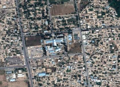 Aerial view of Kunduz hospital (center), a clearly unique structure hard to confuse with any other building in the area