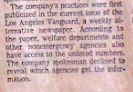 Would a major corporate paper today even pick up a story from a left alternative weekly? (LA Times reference to the LA Vangard as source of its lead article)