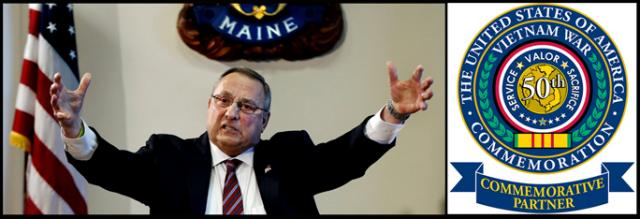 Maine Governor Paul LePage and the Pentagon's commemoration project seal