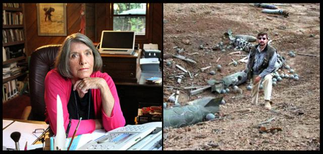 Janet Burroway in her writing office and Tim Eysselinck with war detritus in Iraq