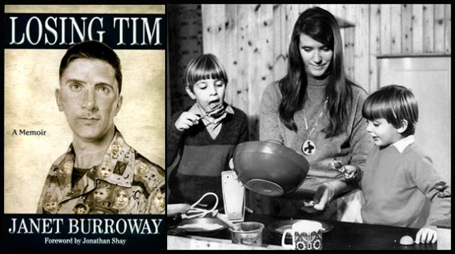 The cover of Losing Tim; and Tim, Janet Burroway and Toby in England circa 1971