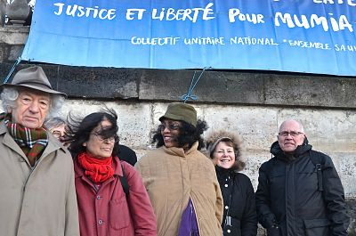 Paris Protest For Abu-Jamal. Jacques Lederer (left) and Abu-Jamal Collectif head Jacky Hortaut (right) - LBW Photo