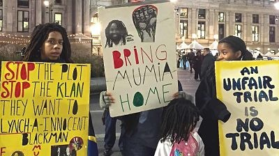 Rally demanding release of Abu-Jamal outside Philadelphia's City Hall 12/9/15