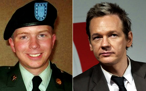 Bradley Manning, left, and Julian Assange