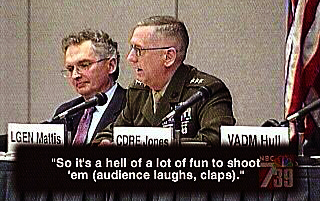 General James Mattis in 2005 telling a San Diego audience how much he loves to kill Afghan men
