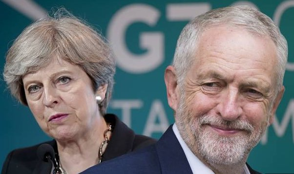 Some polls have British PM Theresa May tied with Labour challenger Jeremy Corbyn in tomorrow's snap election