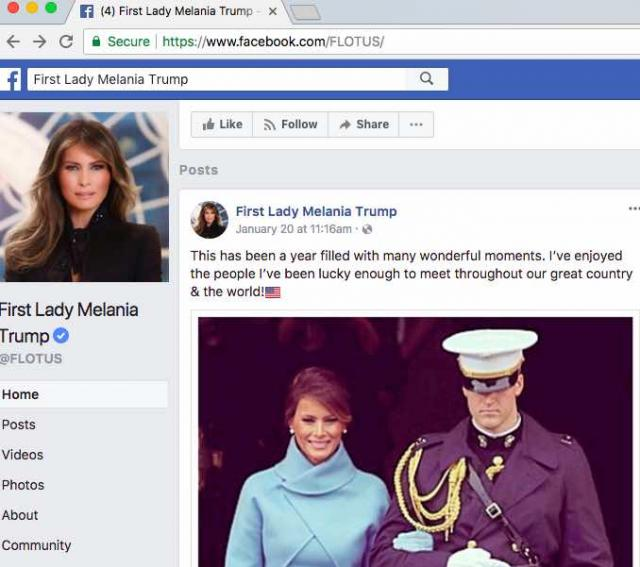 Melania Trump Facebook page showing her with Marine Escort (sans hubby) posted on anniversary of Trump's Inauguration