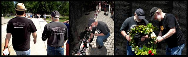 VFP veterans headed for the Wall; Doug Rawlings placing a letter and with the author placing a wreath